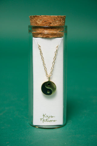 KRIS NATIONS GOLD YIN AND YANG CHARM NECKLACE