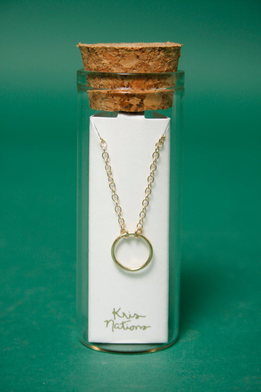 KRIS NATIONS SIMPLE CIRCLE GOLD CHARM NECKLACE - Cloak and Dagger NYC
