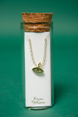 KRIS NATIONS GOLD THIRD EYE CHARM NECKLACE