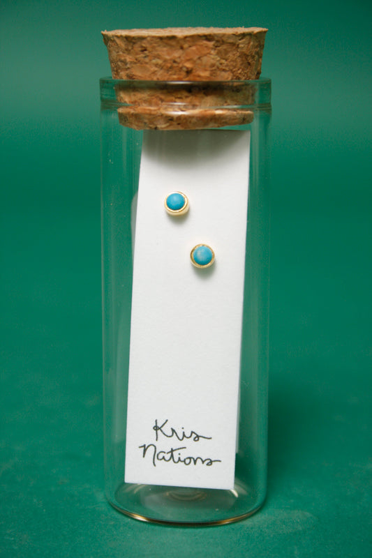 KRIS NATIONS TURQUOISE GEMSTONE GOLD STUD
