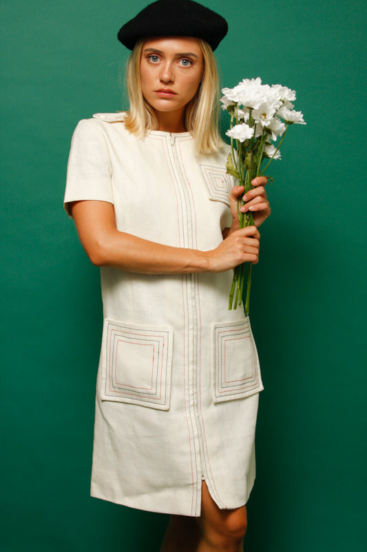 VINTAGE WHITE 60'S ZIP FRONT MOD DRESS