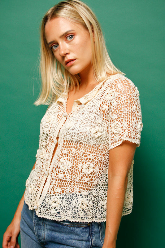 VINTAGE WHITE CROCHET TOP