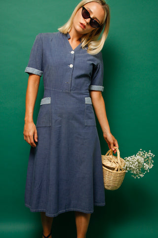 VINTAGE 1940'S COTTON DRESS