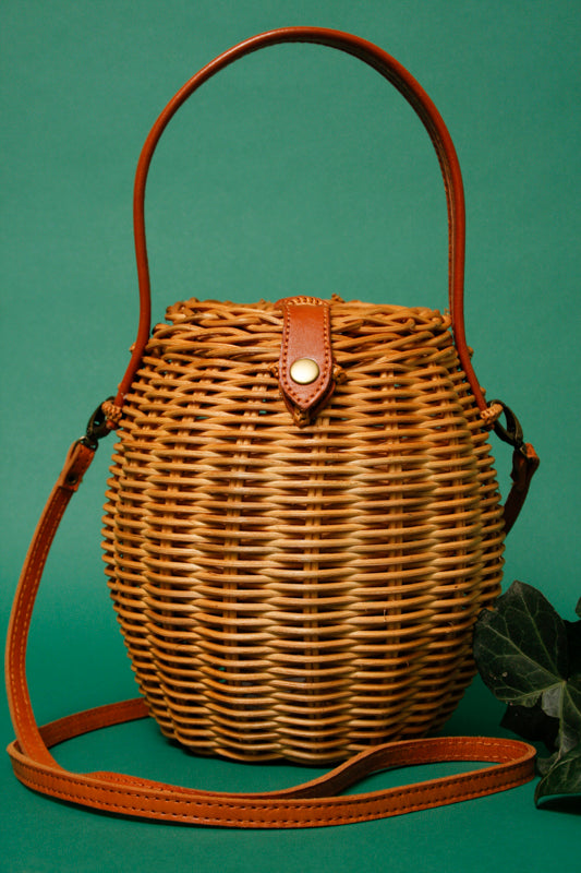VINTAGE BASKET BAG WITH CROSSBODY STRAP