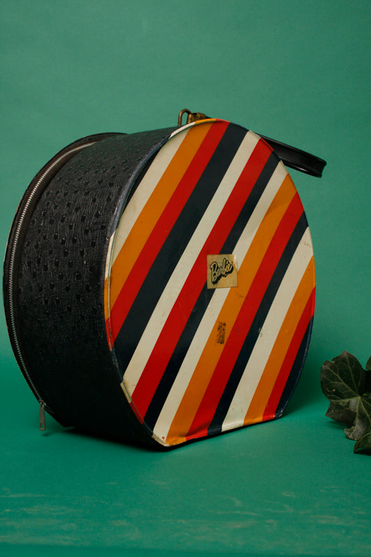 VINTAGE STRIPED BARBIE TRAIN CASE