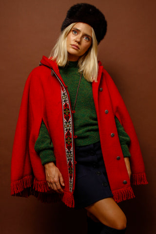 VINTAGE RED NORWEGIAN CAPE