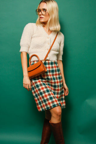 VINTAGE 60'S MOD PLAID MINI SKIRT