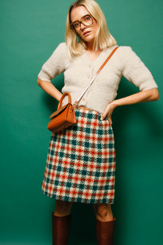 VINTAGE 60'S MOD PLAID MINI SKIRT - Cloak and Dagger NYC