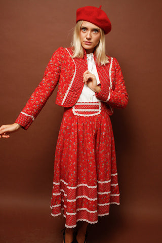 VINTAGE 70'S RED QUILTED SKIRT AND JACKET SET