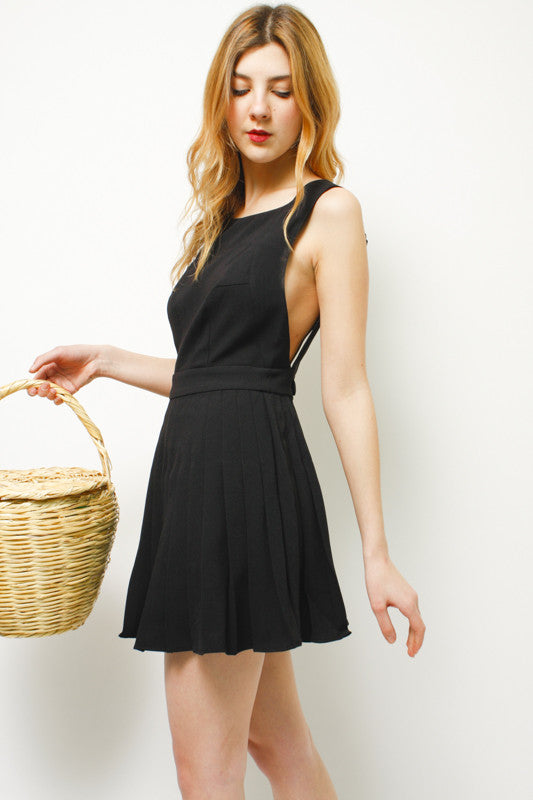 L'ECOLE DES FEMMES BOW BACKLESS PLEATED DRESS