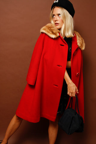 VINTAGE RED FUR TRIM SWING COAT