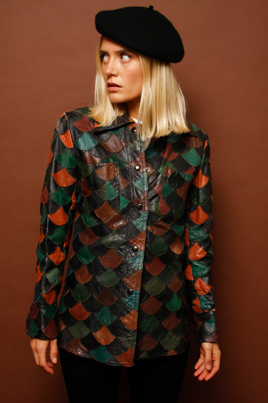 VINTAGE LEATHER SCALED PATCHWORK JACKET