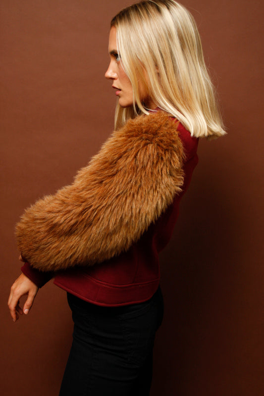 VINTAGE 60'S CROP FAUX FUR SLEEVE JACKET