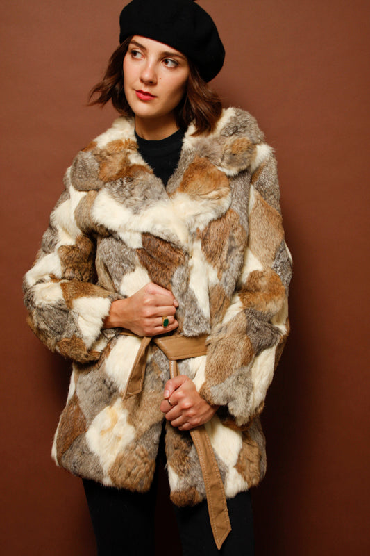 VINTAGE RABBIT FUR COAT WITH BELT