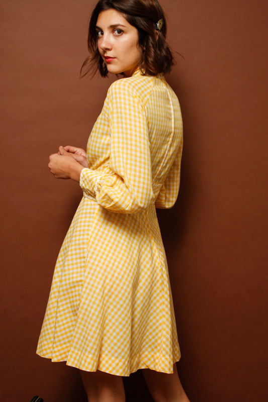 VINTAGE YELLOW GINGHAM DRESS