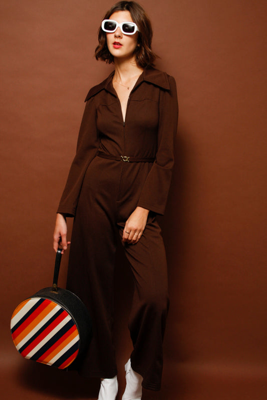 VINTAGE 70'S SWISS BROWN JUMPSUIT