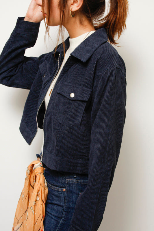 BETTY NAVY CORD JACKET - Cloak and Dagger NYC