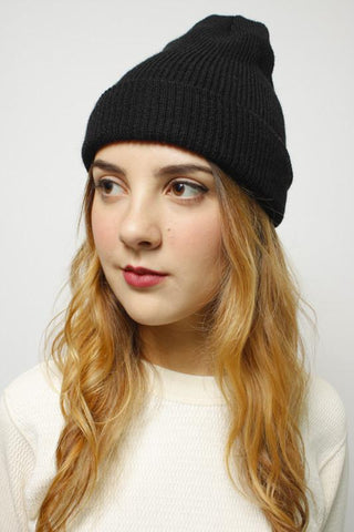 WOOL WATCH CAP, BLACK