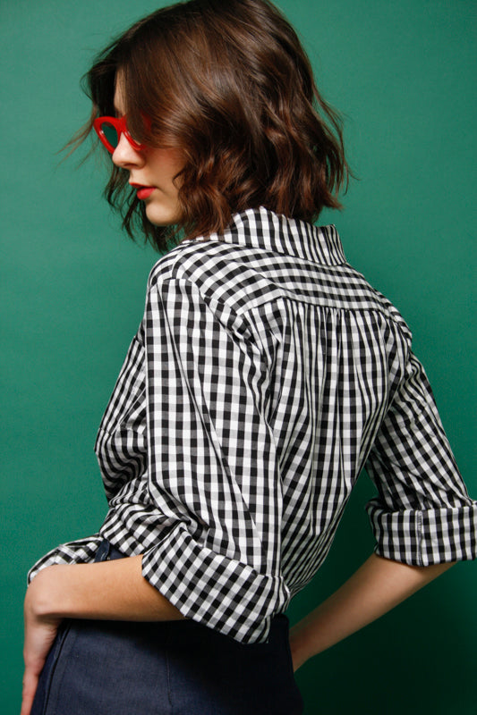 L'ECOLE DES FEMMES MARILYN MONROE GINGHAM BLOUSE - Cloak and Dagger NYC
