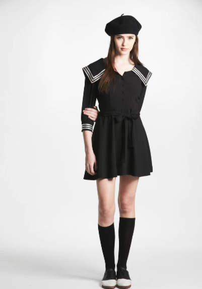 L'ECOLE DES FEMMES CREPE SAILOR DRESS
