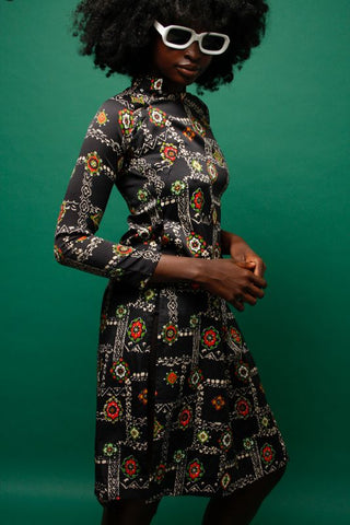 VINTAGE BLACK ASIAN PRINT DRESS