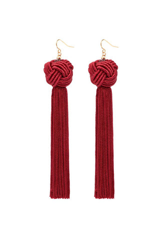VANESSA MOONEY ASTRID KNOTTED TASSEL EARRING, BURGUNDY