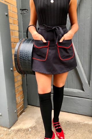 CLOAK & DAGGER BIRKIN NAVY TWILL RED RICK RACK MINI SKIRT