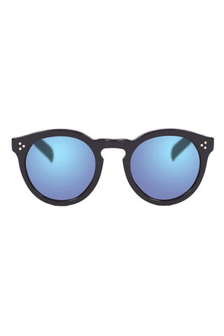 Illesteva Leonard II Matte Black with Blue Lenses