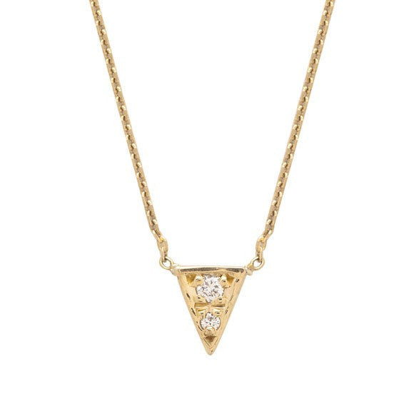 MOCIUN WHITE DIAMOND TRIANGLE NECKLACE - Cloak and Dagger NYC