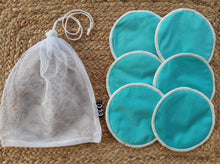Load image into Gallery viewer, 3 pairs of blue breastfeeding pads with a mesh storage bag