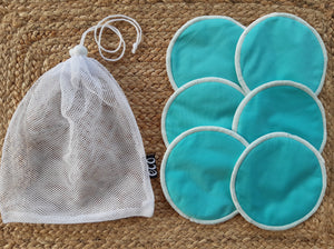 3 pairs of blue breastfeeding pads with a mesh storage bag