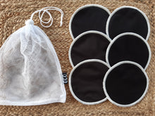 Load image into Gallery viewer, 3 pairs of black breastfeeding pads with a mesh storage bag