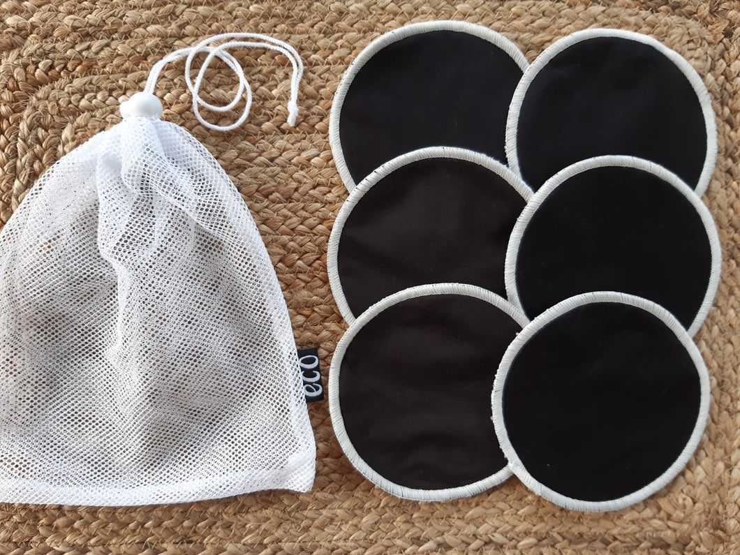 3 pairs of black breastfeeding pads with a mesh storage bag