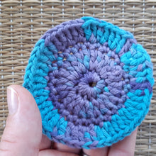 Load image into Gallery viewer, Blue and purple crocheted face scrubby