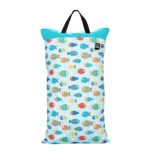 Large wet bag with the print of fish on it