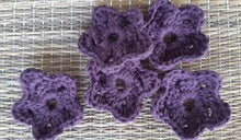 Load image into Gallery viewer, Set of 5 crocheted face scrubbies in shape of flowers