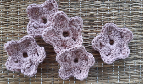 Set of 5 flower shaped crocheted face scrubbies