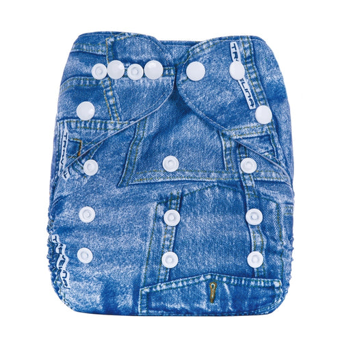 Eco Mini One Size Pocketblöjor. Blue Denim print. Front