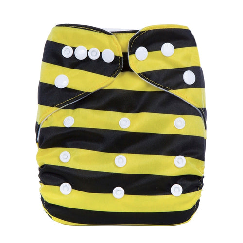 Eco Mini One Size Pocketblöjor. Bumblebee print. Front