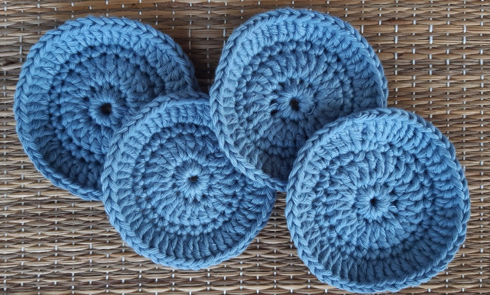 Set of 4 Pale blue crocheted face scrubbies