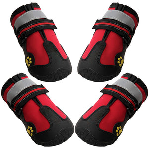Dog Boots Waterproof Shoes for Dogs with Reflective Strip Rugged Anti-Slip Sole Black 4PCS