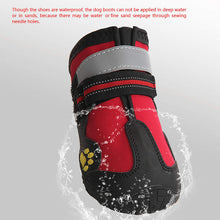 Load image into Gallery viewer, Dog Boots Waterproof Shoes for Dogs with Reflective Strip Rugged Anti-Slip Sole Black 4PCS