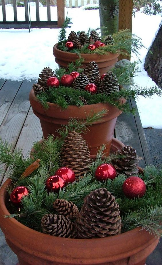 Christmas pine cones in a pot