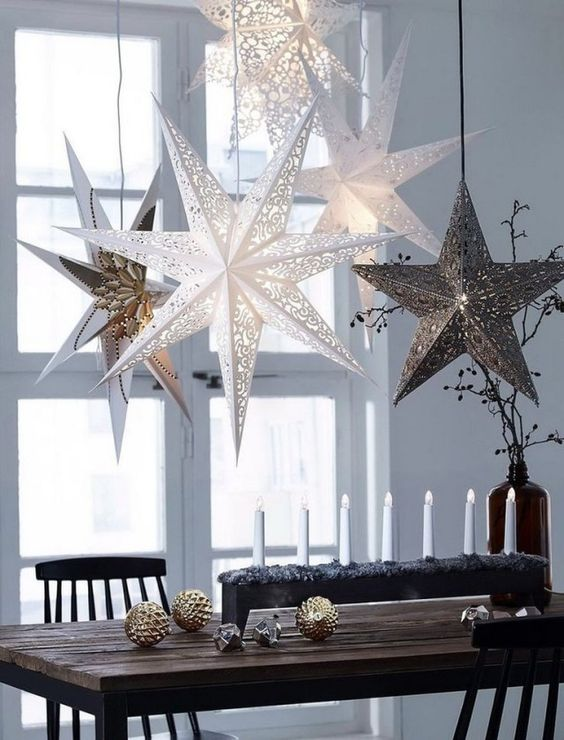 Christmas stars hanging from the ceiling
