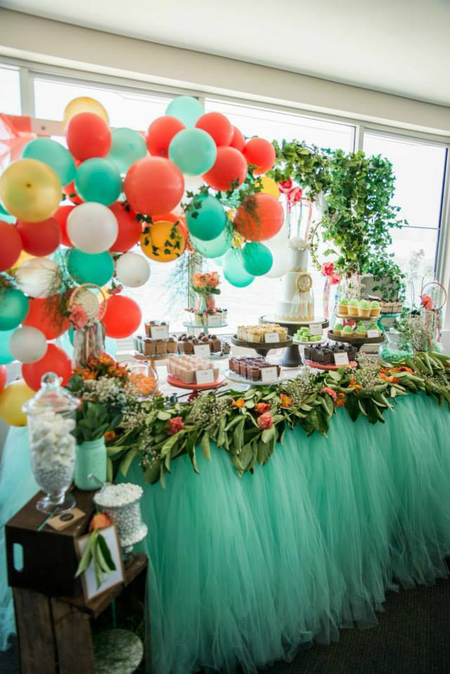 mint-gold-coral-boho-themed-christening-party-table