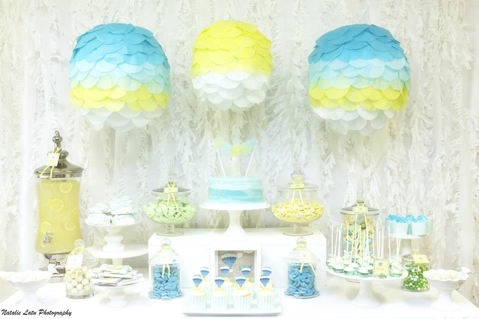 up up and away baby shower, blue yellow baby shower,dessert table