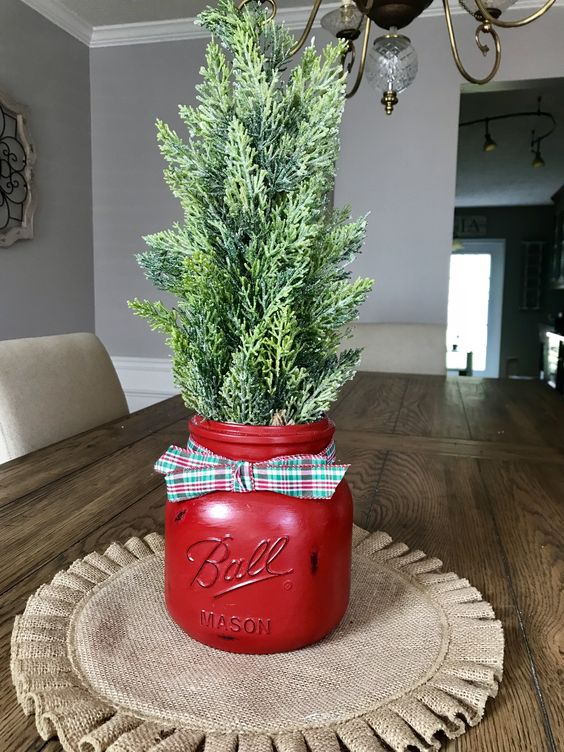 Greenery in a red jar