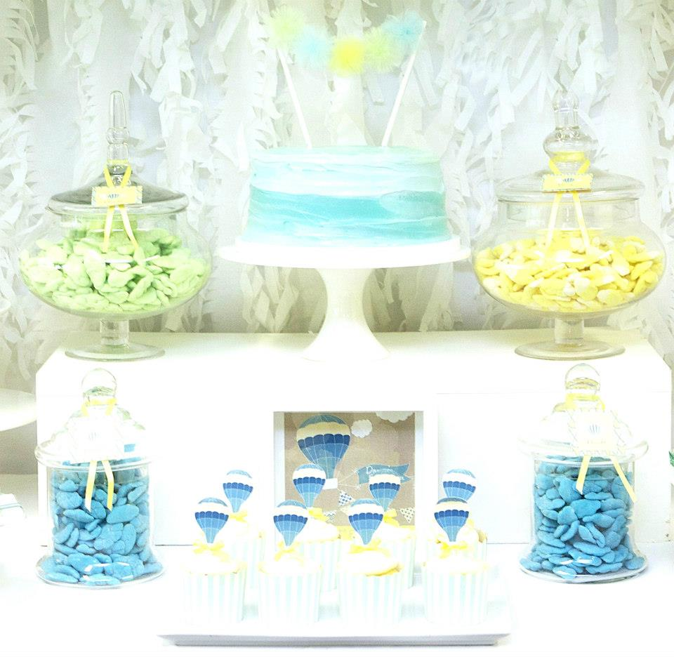 up up away dessert table candy table bridal shower blue yellow