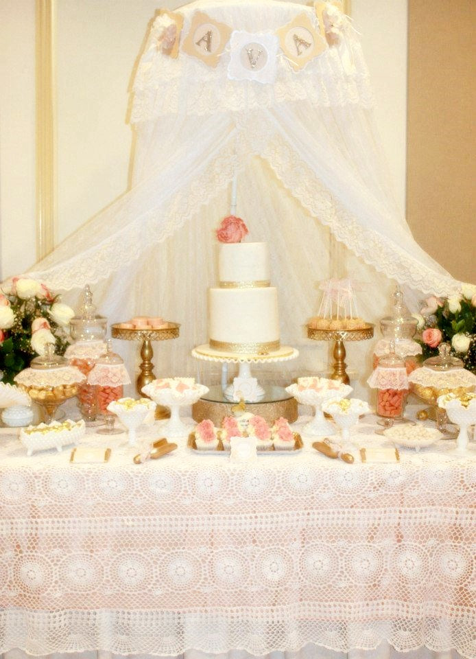 Vintage peach gold baby shower