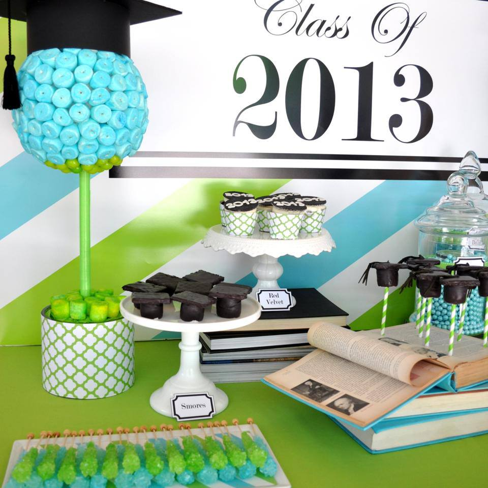 blue-and-green-graduation-party-dessert-table